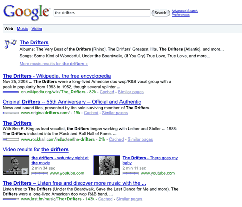 Google Search Results for The Drifters
