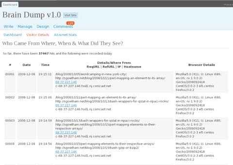 wp-visitors Brain Dump v1.0