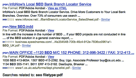 pdf search listings for SEO