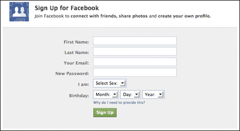facebook signup Facebook Fan Page   Step by Step