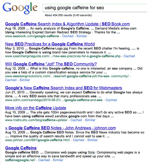 using google caffeine for seo search