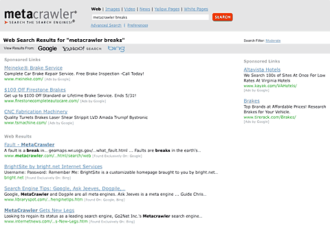 metacrawler search results